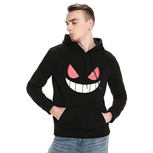 Herren Kapuzenpullover Hoodie Pullover mit Kapuze Halloween Teufel Kürbis Gesicht Drucken (Teufel Schwarz, XXL)