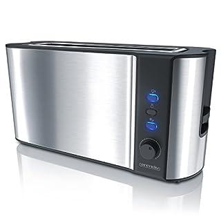 Arendo - Automatik Toaster Langschlitz   mit Defrost Funktion   Wärmeisolierendes Doppelwandgehäuse   Automatische Brotzentrierung   Brötchenaufsatz   herausziehbare Krümelschublade  GS-zertifiziert
