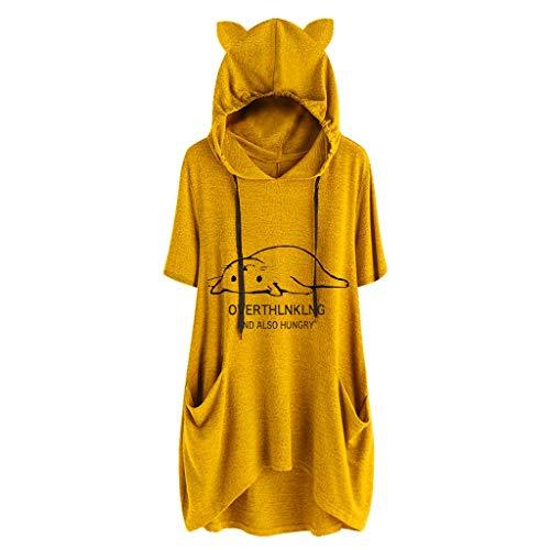 iHENGH Damen Top Bluse Lässig Mode T-Shirt Frühling Sommer Frauen Bequem Blusen Casual Print Lange Ärmel Seitentasche Mit Kapuze Unregelmäßige Tops Shirts(Gelb-3, 4XL)