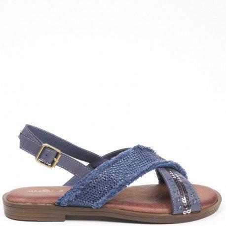 Ideal Shoes - Sandales plates bi-matière et incrustées de strass Sohane Bleu