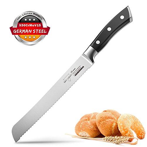 Cuchillo de Pan 20cm Cuchillo de Cocina Utensilio de Repostería Ergonómico con Mango Antideslizante y Hoja de Acero Inoxidable de Alta Calidad Alemán SKY LIGHT