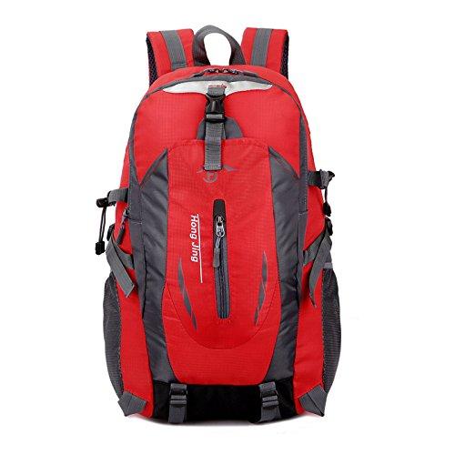 LINGE-Borsa impermeabile borsa spalla casual studenti maschi e femmine a piedi zaino 40L di alpinismo , red Red