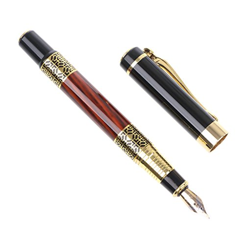yaonow pen-1pc Stift 0,5mm Nachahmung, Holz mit Schnitzerei rot Blume Füllhalter, mittlere Feder...