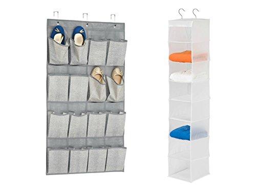 Interdesign Aldo über Tür Schuh Organizer in grau und Honey-Can-Do Hängeregal 8PEVA Aufhängen Organizer in weiß (Schmuck Ringe Box Lila Schal)