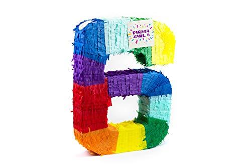 Trendario Pinata Zahl 6 - Mehrfarbig - ungefüllt - Ideal zum Befüllen mit Süßigkeiten und Geschenken - Piñata für Kindergeburtstag Spiel, Geschenkidee, Party, Hochzeit (Jungen Pinata Geburtstag)