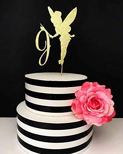 Mittelpunkt, Tinkerbell KUCHEN Topper, Custom Initiale Tortenaufsatz, Birthday Cake Topper, Mädchen Geburtstag Kuchen Topper ()