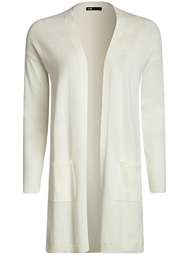 oodji Ultra Damen Langer Cardigan mit Seitentaschen, Weiß, DE 34 / EU 36 / XS (Klassische Damen-strickjacke)