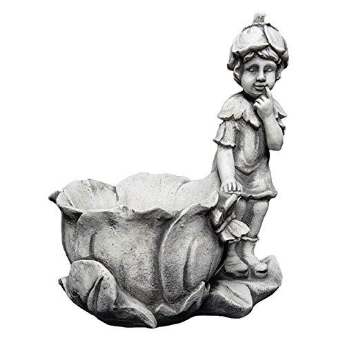 gartendekoparadies.de Massive Steinfigur Elfe mit Pflanztopf rechts Fee Steinguss frostfest