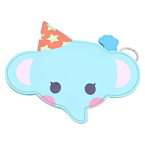 JUNGEN Monedero Animal Creativo Llavero Monedero para Niña Niño Cartera pequeño con Cremallera Billetero de PU Regalo para Cumpleaños Festival (Azul Elefante)