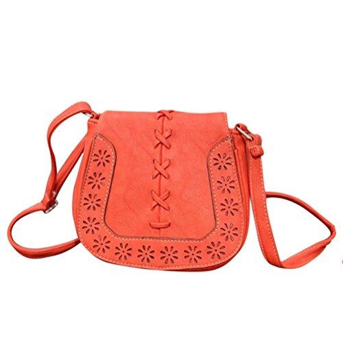 Honeymall Taschen Damen tasche Handtasche Schultertasche Umhängetasche Tasche klein gewebten Hohl Crossbody Bag(Kamel) Orange