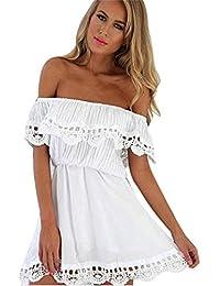 Vestido de mujer verano,SHOBDW casual hombro de manga corta de vestidos mini elegante color sólido de vestido