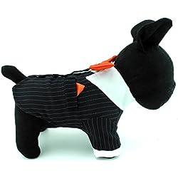 SELMAI - Traje de esmoquin para perro pequeño con lazo rojo, traje formal para hombre, diseño de rayas, para boda, fiesta, disfraz, chihuahua, bichón, ropa