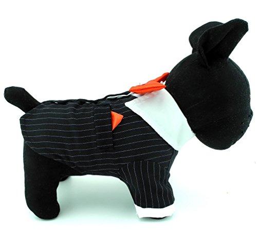 Bichon Kostüm - selmai Kleine Hunde Smoking mit roter Fliege, Männer formale Anzug Shirt Schwalbenschwanz Stripe Hochzeit Party Kostüme Teddy Chihuahua Bichon Kleidung Bekleidung