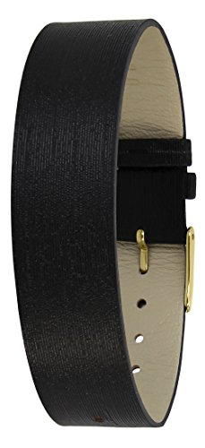 Moog Paris Black Fabric Bracelet for Women, Moire Pattern, Pin Clasp, 18mm Band - PM-122AG