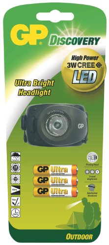 GP Discovery 455003 LOE208 Torches Frontale LED + 3 Piles LR03 Ultra Noir
