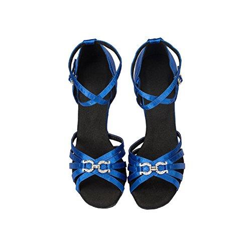 Minitoo strass pour chaussures de danse Satin moderne latine Bleu