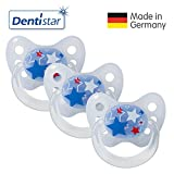 Dentistar Latex Schnuller 3er Set - Nuckel Größe 2, 6-14 Monate - Naturkautschuk Beruhigungssauger für Babys - Sterne, blau