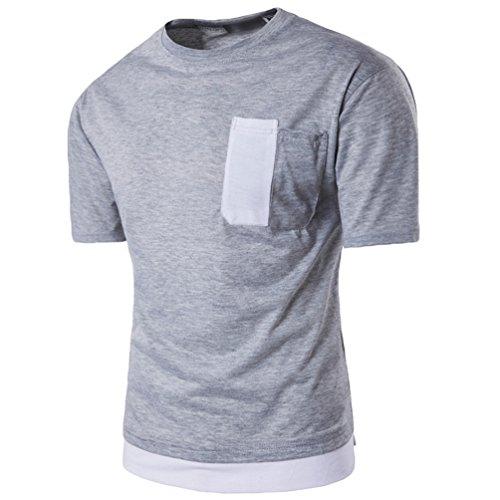 ZhiYuanAN Uomo Magliette Manica Corta T-Shirt Falso Due Cuciture A Colori Girocollo Shirt Casual E Confortevole Tee Tops Grigio chiaro