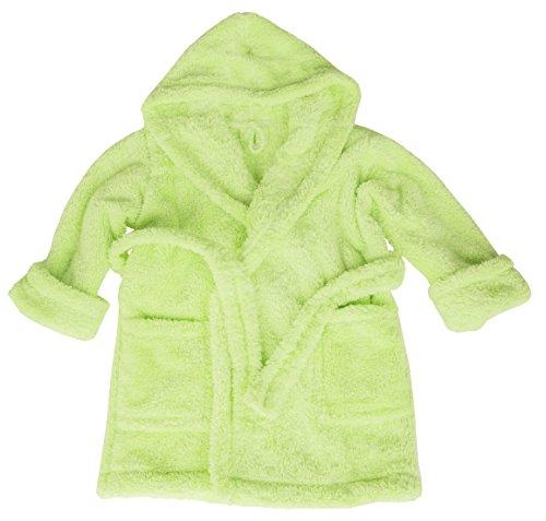 m.Lyra Kinder Kuscheliger Jungen und Mädchen Bademantel mit Kapuze Grün (152) Grüne Bettdecken