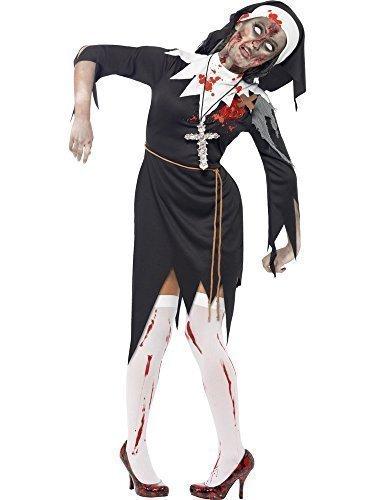 nam Zombie Schwester Mary Nonne religiös Halloween Kostüm UK 8-22 Übergröße - Schwarz, Schwarz, 20-22 (Religiöse Halloween Kostüme)