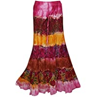 Women's Maxi Skirt Tie Dye Printed Vintage Boho Pink Skirts One Size