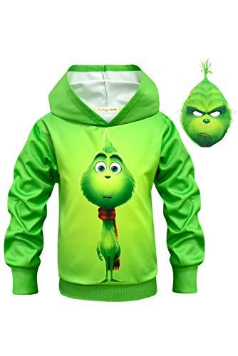 MingoTor Kinder Jungen Coat Anime Mantel Cosplay Kostüm Christmas Weihnachten Outfit Party Suit Grün 150