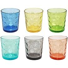 Borella casalighi Jenny Juego 6vasos agua, vidrio, colores surtidos, 25.5x 15x 9cm