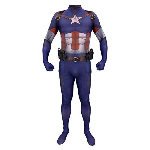 PIAOL Captain America Kostüm Avengers 4 Anime Stretch Strumpfhose Halloween Adult Kids Requisiten,Blue-L