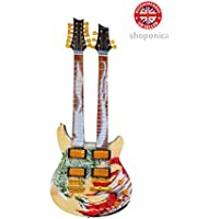 Carlos Santana Doppelter Hals Drachen Signature Holz Miniatur-Gitarre