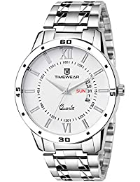 TIMEWEAR Day Date Functioning White Dial Chain Watch for Men
