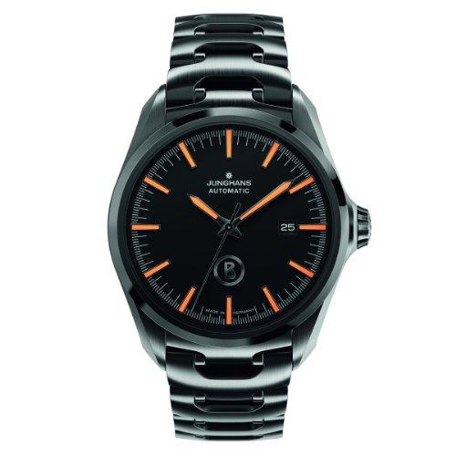 Junghans Uhren Bogner Willy Automatic 027/4276.44 - Orologio da polso da uomo, cinturino in rivestito in acciaio inox colore nero