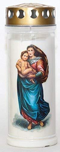 St. Jakob´s Motivkerzen - Grabkerzen in weiß mit Golddeckel - Motiv Madonna - 24 STÜCK Grablichter mit Deckel - 7 Tage Wochenbrenner Grabkerzen - Friedhofskerze