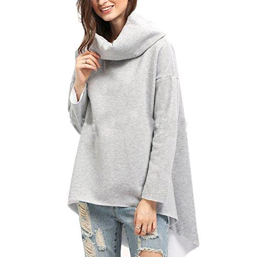 Damen Pullover Casual Lose Langarm Tops Hohe-Ausschnitt T-shirt Volltonfarbe Vokuhila Oberteile (XL, Grau) (Achselzucken Top Grau Shirt)