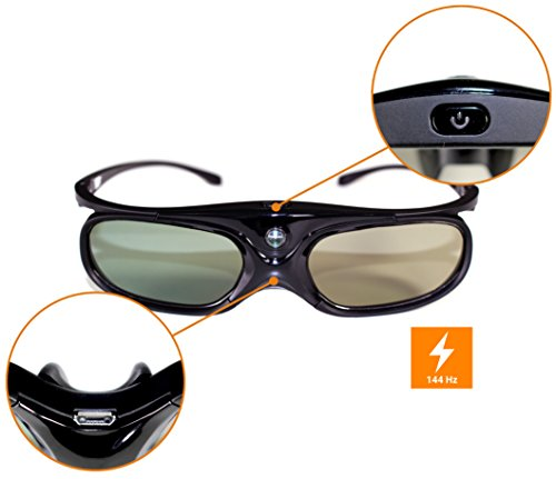 celexon DLP 3D Brille Shutter-Brille G1000 - Shutterfrequenzen bis 144Hz - Nur 33g - 90° Sichtwinkel - bis zu 8m