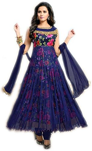 Active Women's Bhagalpuri Prin Anarkali Salwar suit (Free Size_Blue)