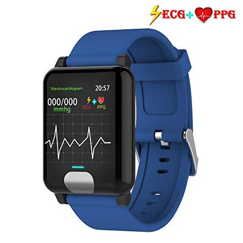 ISWIM Pulsera Actividad,ECG +PPG Pulsera Inteligente con Pulsómetro Pulsera Deportiva y Monitor de Ritmo Cardíaco Monitor de Actividad Impermeable IP67 Reloj Fitness Podómetro para Mujer Hombre (Azul)