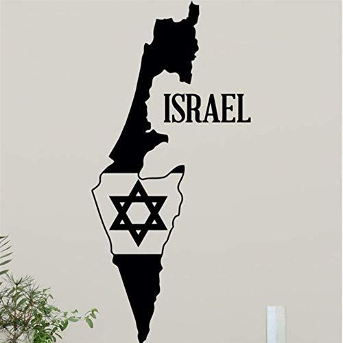 Israel Karte Davidstern Wandtattoo Jüdischer Stern Wohnkultur Wandaufkleber Judentum Design Wandkunst Teen Boy Room Wall Decor 42X90Cm