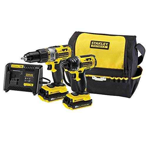 Stanley Fatmax FMCK461C2-Qw - Lot Perceuse À Percussion Et Visseuse À Impact Sans Fil Lithium Ion - Multi-Matériau - Mandrin Hexagonal Une Main - Revêtement Caoutchouc - 2 Batteries Et Chargeur Rapide