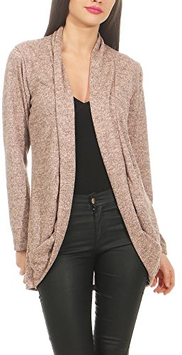 Malito Damen Strickjacke lang   Cardigan im eleganten Design   Angesagter Oversize Look - Weste - Jacke 5021 (rosa)