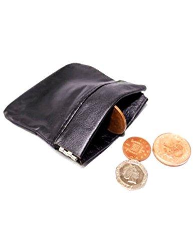 Preisvergleich Produktbild SystemsEleven Herren Damen Schwarz Echt Leder Münzfach Geldbörse