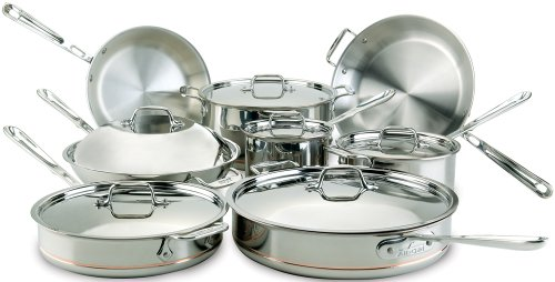 All-Clad Kochgeschirr-Set, Kupferkern, 7-teilig fein 14-Piece silber All Clad Copper Core