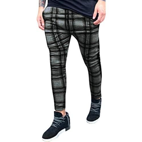 Pantalones para Hombre Largos Moda Estampado a Cuadros Bolsillo Pantalones Deportivos Pantalón Jogger...