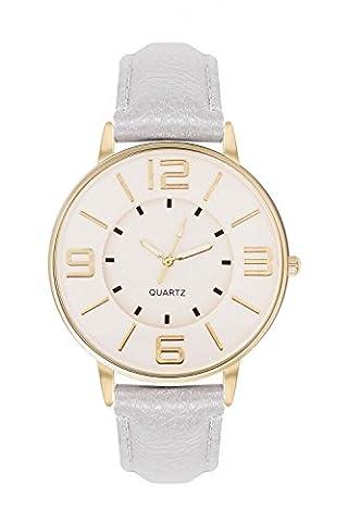 Armbanduhr Trenduhr Farbe Gold Grau Grey Style Arabische Ziffern Lederarmband Unisex Damenuhr Schlichte Uhr Goldene Uhren Günstig Designer Mingbo Quarzuhr Schmuck Modeschmuck V6 Dalas (Arabischen Frau Kostüm)