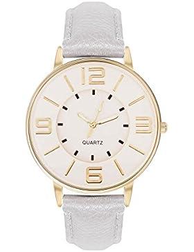 Armbanduhr Trenduhr Farbe Gold Grau Grey Style Arabische Ziffern Lederarmband Unisex Damenuhr Schlichte Uhr Goldene...