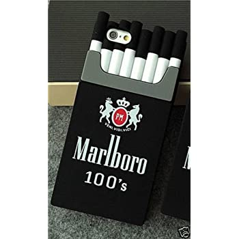 3D Silicone Cigarette Box Shaped Marlboro Back Cover Case for Iphone 5/5s (Black )