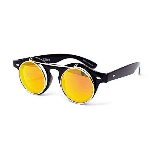 Ultra® hochklappen Kreis Steampunk hochwertige Schutzbrille Brille Retro Runde Cyber UV400 Sonnenbrille (In schwarz und Gold-Objektive) Großen Rahmen Gläser