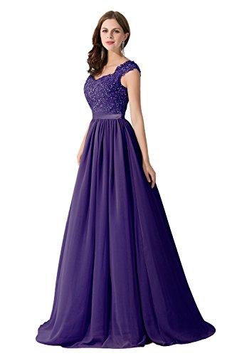 Damen Elegant Herzform Abschlussballkleid mit Perlen A-Linie lang Lila 42 Chiffon Tüll Kleid