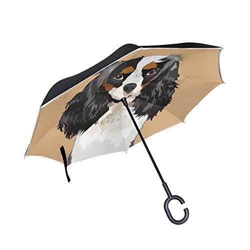mydaily Double Layer seitenverkehrt Regenschirm Cars Rückseite Regenschirm Cavalier King Charles Spaniel Hund winddicht UV Proof Reisen Outdoor Regenschirm (Regenschirm Spaniel)
