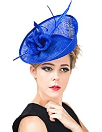 EOZY Damen Kopfschmuck Haarschmuck Fascinator Mini Hut mit Federn