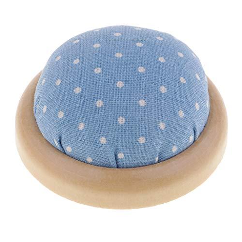 Baoblaze Nähen Kissen Nadelkissen Pin Halter mit Holzteller DIY Werkzeug für Handarbeiten - Blau